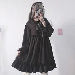 $enCountryForm.capitalKeyWord Australia - Japanese Harajuku Women Black Ruffles Dress Lantern Sleeve Lolita Style Student's Dress Sweet Kawaii Cute Bow Girl Chiffon Dress Y190515