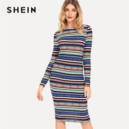 a06d0ba8e1 Shein Multicolor Striped Geometric Pencil Dress Elegant Party Sexy Knee  Length Bodycon Slim Dresses Women Autumn Tribal Dress Y19012201