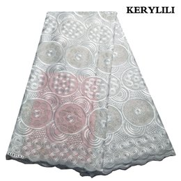 white swiss cotton voile fabric Australia - Latest White Lace Fabric African Swiss Voile Cotton Lace Nigerian Party Dress With Rhinestones KRL-3229