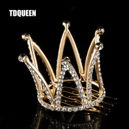$enCountryForm.capitalKeyWord Australia - TDQUEEN Tiaras and Crowns with Comb Gold Color Kids Girls Mini Round Hair Jewelry Accessories Pageant Prom Princess Tiara Crown