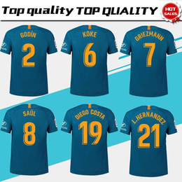 Chinese  #7 GRIEZMANN Madrid 3rd blue Soccer Jersey 18 19 #6 KOKE Soccer Shirt Customized #8 SAUL #19 DIEGO COSTA short sleeve football uniform Sales manufacturers