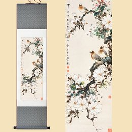 Watercolor Paintings Birds Australia - Chinese Silk Watercolor Flower and three birds Magnolia tree feng shui ink art wall picture damask framed scroll canvas painting