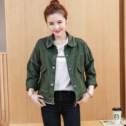Wholesale khaki jeans jacket for sale – denim Spring Autumn Fashion Jeans Jackets Women Short Casual Loose Letter Embroidery Denim Coat Ladies Basic Army Green Khaki Outwear