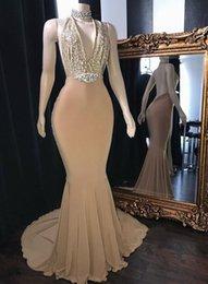 Elegant Evening Dresses Backless Sequins Australia - Elegant Champagne Halter Backless Prom Dresses 2019 Mermaid Sequins Evening Party Gowns robes de soirée Guest Dress Robes Abendkleider