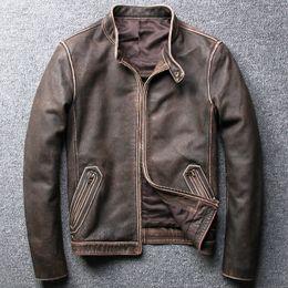 Vintage Motorcycles Jacket Australia - Large Size Men's Vintage Cow Leather Jackets 2019 Brand Design Genuine Leather Bomber Jacket Male Harley Motorcycle Biker Coat