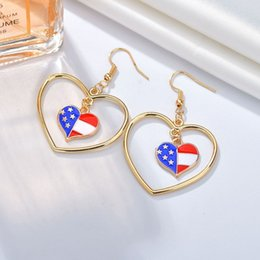 Earring Wholesalers Usa Australia - USA Flag Heart Drop Earrings For Women Cute And Romantic Earrings Handmade Individuality American Wedding Jewelry Earings