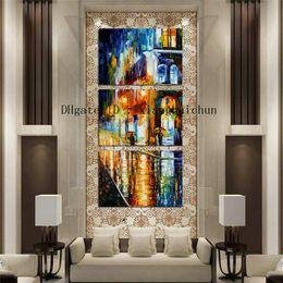 Leonid Afremov Canvas Prints Australia - Leonid Afremov : Rainy Night Street,3 Pieces Home Decor HD Printed Modern Art Painting on Canvas (Unframed Framed)