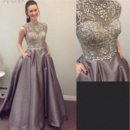 lavender shirt puffy sleeves Australia - Puffy Elastic Satin Evening Dresses With Sparkly Crystals Beading 2019 Spring Sheer Cap Sleeves Special Occasion Gown A-Line Prom Dress 372