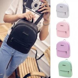 College sChool Colors online shopping - PU Candy Colors Backpack Colors College Wind Mini Soft Girls Travel School Bags Letter Printed Backpacks OOA6189