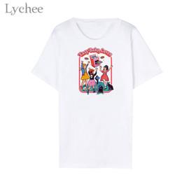 e5f333ecc Lychee Trendy Letter Cartoon Women T-Shirts O-Neck Casual Short Sleeve  Simple White T ShirtS Female Tee Top