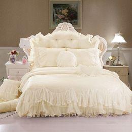 $enCountryForm.capitalKeyWord Australia - Beige pink purple red princess lace luxury bedding set queen king size 4 8pcs wedding duvet cover bed skirt linen bedsheet