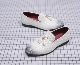 white leather formal shoes NZ - Tassels Mens Dress Shoes Leather Weave Oxford Shoes For Men Loafers Italy Black White Derby Formal Wedding Shoes Plus Size 38-48 d2a57
