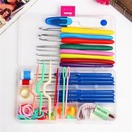 crochet hooks knit needles NZ - Set of 57 Full Set DIY 16 sizes Crochet Hooks Needles Stitches Knitting Craft Case Crochet agulha set Weaving Tools Sewing Tools