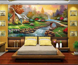 3d wall sticker water 2019 - custom size 3d photo wallpaper living room mural rural house lake water maple oil painting sofa TV backdrop wallpaper no