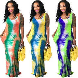 tie maxi dress Australia - Womens Summer Printed Dresses Fashion Tie Dye Sleeveless Vest Maxi Dress Sexy Casual Clothing Loose Trendy Plus Size Long Skirt S-3XL