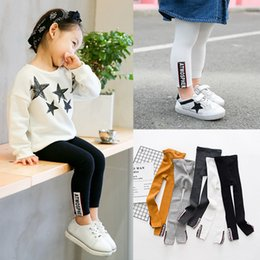 Cheap Wholesale Leggings Australia - 100% cotton girls leggings with color patch high quality cheap warm and comfortable trousers for girls age 3 to 8 years old
