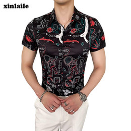 korean floral shirts NZ - Men's Fashion Shirt Short Sleeve Floral Shirt Summer Black Men's Dress Button Lapel Korean Slim Wear