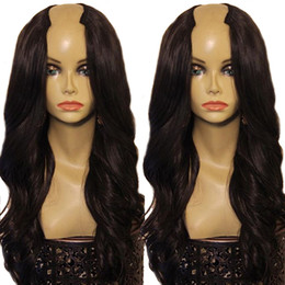 wave machine for hair Canada - 2*4 U Part Wig Human Hair For Women 180% Density Body Wave Wigs Machine Made Brazilian Remy Human Hair Wigs