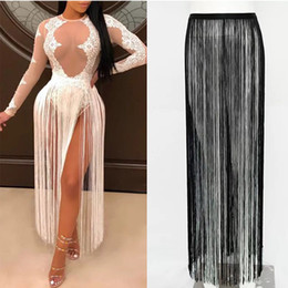 Clothing For Dancers Australia - White Black Fringed Belt Long Skirts Nightclub Dj Dancer Outfit Stage Clothes For Singers Dancewear Women Female Wears DNV10957