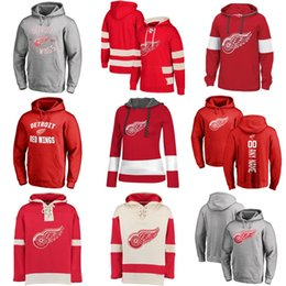 Wholesale best embroidery resale online - Hot Sale Custom Mens Womens Kids Detroit Red Wings Cheap Best Quality Embroidery Red White Grey Ice Hockey Hoodies with Any Name Any No