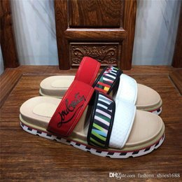 Wholesale Men Red Sandals Breathable Comfort Slippers Style Slides with rubber Red sole Sandals Platform Zandal Sandals with box