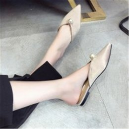 sweet cloth NZ - Women Flat Shoes Brand 2019 Spring Fashion Mules ladies Cloth Pointed Toe pearl sweet party outside Slip On slides non-slip