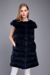 womens vests NZ - lady women real rex rabbit fur chinchilla color long vest outwear fluffy furry winter womens gilet navy blue