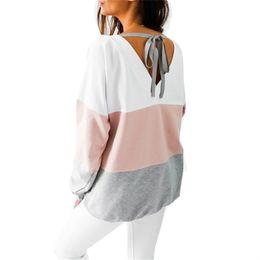 Casual Long Back Blouse Australia - Women Blouses 2019 Autumn Long Sleeve Striped Blouse Shirt Casual Contrast Color Loose Back Lace up V-neck Tops Blusas Femininas T190606
