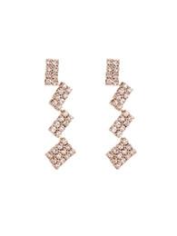Alphabet Blocks Australia - Han Faner's Geometric Block Stitching Ear Nail Female Chic Wind Delicate Baitao Zircon Earrings Eardrop E573
