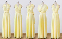 $enCountryForm.capitalKeyWord Australia - Cheap Pale Yellow Infinity Bridesmaid Dresses Convertible Chiffon A Line Dresses Multiway Wrap Dresses Maid Of Honor Wedding Guest Gown