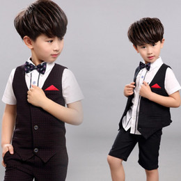 Handsome Kids Suits Australia - Spring Summer Kids Formal Wedding Tuxedos Handsome 2 Pieces Boy's Pants Suits Flower Boys Wear(Vest+Pants)