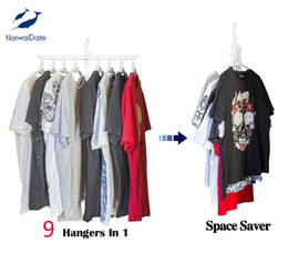 magic clothes hangers NZ - 2pc set Reinforce Cascading Hangers 9In1 Magic Hangers Closet Space Saving Wardrobe Organizer Durable Non-Slipping Foldable