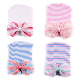 cotton baby girl bonnets NZ - baby hair bows hats newborn crochet beanie hat toddler knit hair accessories infant boy girl bonnet winter cotton photography caps