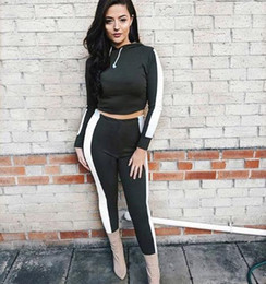 ladies leisure tracksuits Canada - Wholetide Nice New Style Tight Fitting Type Ladies Sweat Suits Middle-waisted Leisure Women 2 Piece Outfit Fashion Sports Women Tracksuit