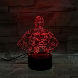 Ingrosso Spedizione gratuita 3D Night Light Movie Figura Superman Lampada Home Hotel Decor Lampada da tavolo per bambini Regalo di Natale Luce Colorful Changable Light