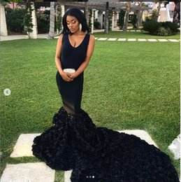Wholesale Black Mermaid Long Prom Dresses New Sleeveless Sweep Strain Pleats Flowers V Neck Formal Evening Dress Party Gowns Custom Made