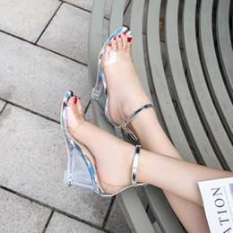 $enCountryForm.capitalKeyWord Australia - Fancy2019 Toes Woman Glass Rubber Cavity Hasp Transparent 8 Centimeter Slope With Joker Sandals