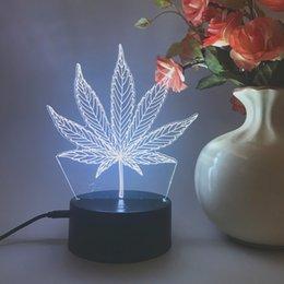 3D pianta Leaf Smart Home Colorful Led 3D Night Light LED Remote Control luci visive colorate