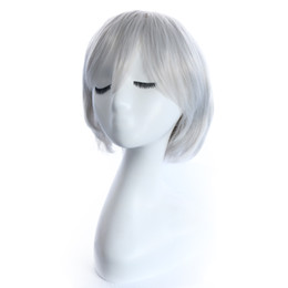 $enCountryForm.capitalKeyWord UK - Silvery white Anime wigs Cosplay colorful Short curly hair with 28cm synthetic braid hair