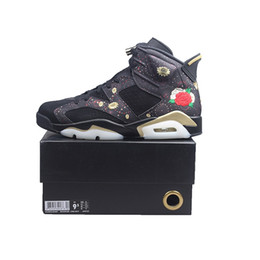 China CNY 6 Mens Basketball Shoes 6s Chinese New Year Metallic Gold Black Women Outdoor Sports Sneakers size 5.5-13 with BOX Free Shipping cheap media shipping boxes suppliers