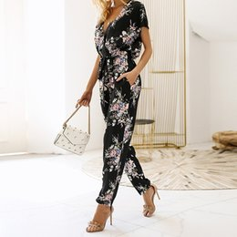 fashion party jumpsuits NZ - 2018 Summer New Fashion Women Print Sexy V-neck Jumpsuit Boho Female Rompers Evening Party Clubwear One-piece Jumpsuit Cym&40 Y19060501