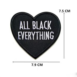 wholesale embroidered jackets Canada - Heart Embroidery Patches English Letters Sew Iron On Applique Repair DIY Badge Patch For Kids Clothes Jacket Bag Garment
