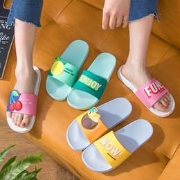Ladies yeLLow sandaLs online shopping - Cute Fruits Women Slippers Summer Slides Cartoon Lemon Cherry Home Slippers Thick Soled Sandals Women Shoes Ladies Flip Flops