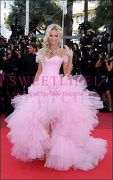 Hi Low Tulle Prom Dresses Australia - Canne Film Festival 2019 Pink Celebrity Dresses Hi Low Tulle Ruffles Tiered Skirts Side Split Formal Evening Occasion Prom Party Dresses