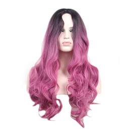 long wavy dark blue wig UK - WoodFestival dark roots blue ombre wig pink long synthetic wigs for women heat resistant wavy cosplay hair