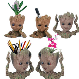 Tree Man Pencil Pen Holder Flower Pot Guardians of The Galaxy Flowerpot Baby Action Figures Cute Model Office Desk Organizer Storage Box on Sale