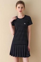 English Dresses NZ - Pleated stripe Plaid short-sleeved cotton classic long skirt English style 2019 summer new thin women's dress casual fashion brand 17