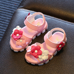 Soft Sole Shoes For Babies NZ - Children Sandals for Girls 2019 New Summer Kids Shoes Baby Girls Flowers Sandals Soft Soles School Shoes Size 21-30