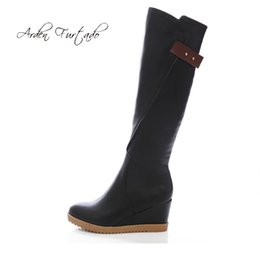 1508ee1d5b8 Arden Furtado fashion women s shoes winter 2019 zipper online celebrity  concise round toe pure color increase knee high boots