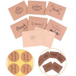 $enCountryForm.capitalKeyWord Australia - 18pcs Thank You Greeting Card kraft Paper Envelopes Seal Sticker Wedding Party Mini Brown Paper Card Envelope Sticker Set